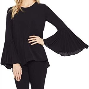 Banana republic black bell sleeve pleated blouse